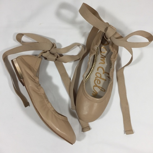 bff57fa9f SAM EDELMAN Leather Tan Lace Up Tie Ballet Flat